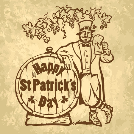 Vintage Happy St Patricks Day card or poster. Leprechaun character holding beer mug leaning on barrel with text. Hand drawn sketch vector illustration isolated on old paper.