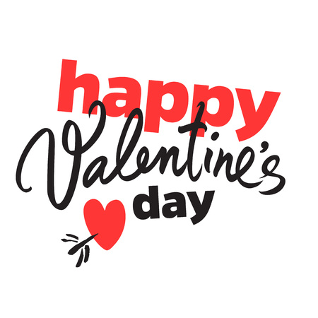 Happy Valentines Day handwritten lettering. Black calligraphic text with red heart pierced by arrow isolated on white background. Valentines Day holidays typography. Vector.