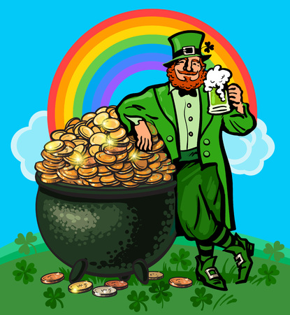 St Patricks Day poster. Cartoon Leprechaun holding beer mug leaning on pot full of gold coins on rainbow background. Hand drawn vector illustration isolated on green clover field blue sky backdrop
