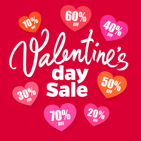 Valentines Day sale poster. handwritten lettering. Set of discount tags 10,20,30,40,50,60,70 percent off in the shape of hearts. Holiday offer. Vector illustration isolated on red.