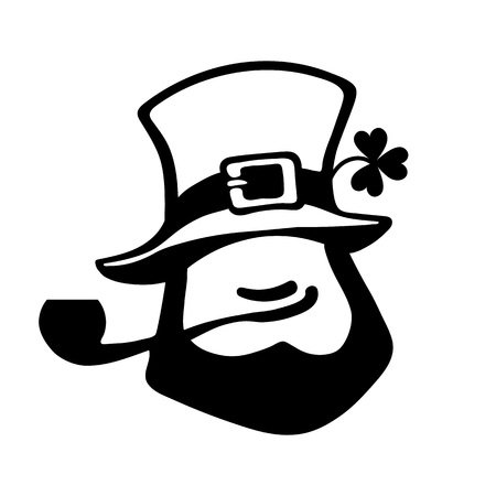 Leprechaun face icon with hat, pipe, and clover.Saint Patricks Day icon. Hand drawn black vector illustration isolated on white.