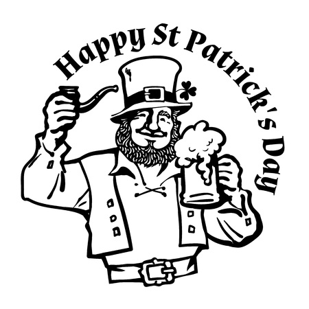Happy St Patricks Day poster. Leprechaun character in traditional Irish costume with beer mug and pipe. Hand drawn vector illustration isolated on white.
