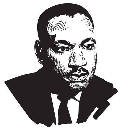 Martin Luther King. Portrait de vecteur dessiné main noir et blanc isolé sur fond blanc.