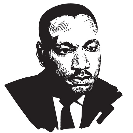 Martin Luther King. Retrato de vector dibujado a mano blanco y negro aislado sobre fondo blanco.