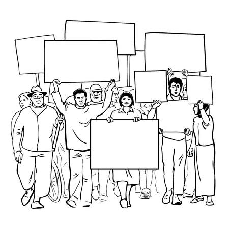 Protestare le persone con cartelli in bianco. Folla con striscioni vuoti. Manifestazione di massa di protesta. Illustrazione di vettore di schizzo di arte linea disegnata a mano isolato su priorità bassa bianca. Vettoriali