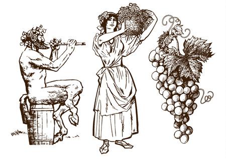 Sátiro sentado en el barril, hermosa mujer campesina con canasta y racimo de uvas. Elementos de diseño para carta de vinos. Ilustración de vector dibujado a mano en estilo vintage. Aislado sobre fondo blanco.