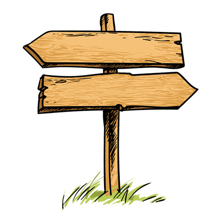 Stary drewniany znak podwójnego kierunku. Szkic styl ręcznie rysowane wektor ilustracja na białym tle. Ilustracje wektorowe