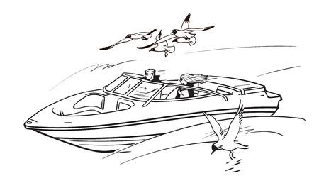 Felice giovane coppia uomo e donna, guidando la barca a motore di velocità tra gabbiani in volo. Ragazzo e ragazza in vacanza estiva. Illustrazione di vettore disegnato a mano di stile di schizzo isolato su priorità bassa bianca.