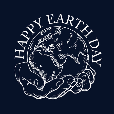 Happy Earth Day typography. Globe in hands. Two palms hold the Earth. Environment concept. Hand drawn black and white vector illustration in sketch style isolated in black. Illustration