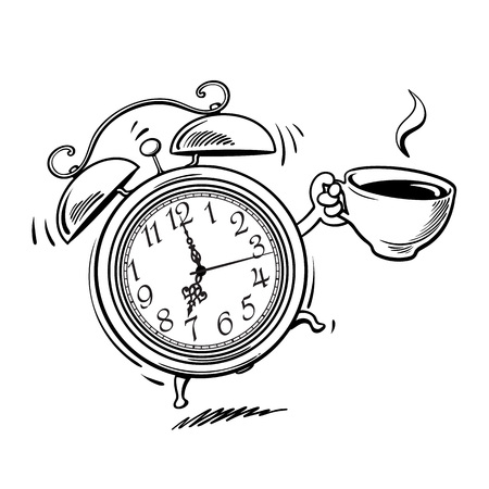 Cartoon alarm clock with cup of coffee ringing. Wake-up time. Black and white sketch. Hand drawn vector illustration isolated on white background. Ilustração