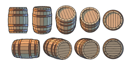 Set of wooden barrels in different positions. Front and side view, at different angles Vector illustrations isolated on white background.