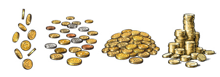 Set of gold coins in different positions. Falling dollars, pile of cash, stack of money. Hand drawn sketch style collection isolated on white background. Vector illustration. Illustration