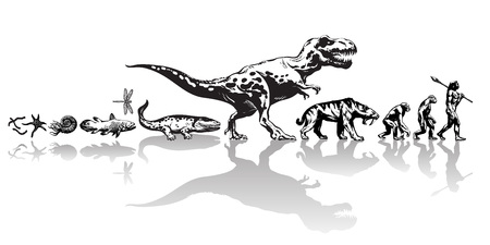 History of life on Earth. Timeline of evolution from prehistoric animals, dinosaur, saber toothed tiger, monkey to cave man. Hand drawn vector sketch with reflection isolated on white background.