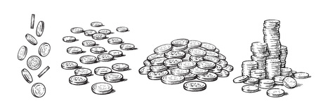 Sketch style set of coins in different positions. Falling dollars, pile of cash, stack of money. Black and white hand drawn collection isolated on white background. Vector illustration. Illustration