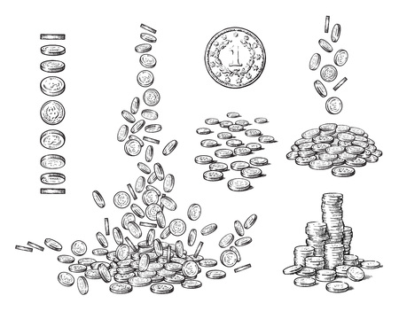 Sketch set of coins in different positions. One old coin, falling dollars, pile of cash, stack of money. Black and white hand drawn vector illustration isolated on white background. Illustration