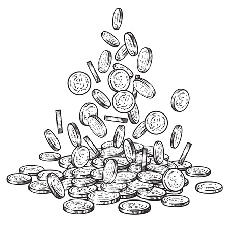 Sketch of falling coins in different positions, big pile of cash, a lot of money. Black and white hand drawn vector illustration isolated on white background. Illustration