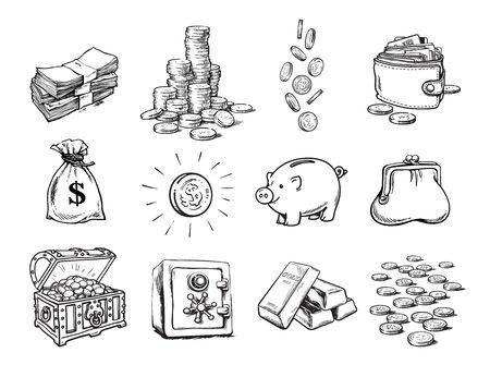 Skizze des Finanzgeldsatzes. Sack mit Dollar, Stapel von Münzen, Münze mit Dollarzeichen, Schatztruhe, Stapel von Scheinen, fallende Münzen, Banksafe, Sparschwein, Goldbarren, Geldbörse, Brieftasche. Vektor. Vektorgrafik