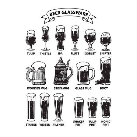 Guide de la verrerie à bière. Différents types de verres à bière et de chopes. Illustration vectorielle dessinés à la main isolé sur fond blanc.