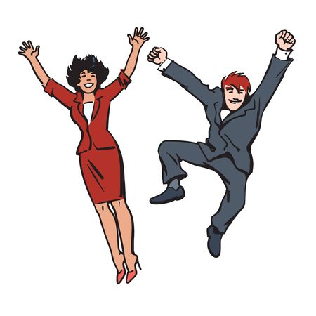 Happy couple jumping and having fun. Woman and man jump, dance and fool around. Employees celebrate their success. Hand drawn vector illustration in sketch style on white background. Иллюстрация