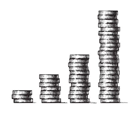 Stacks of coins. Concept of economic growth, business success. Hand drawn vector illustration in sketch style. Metal money columns income graph. Ilustración de vector