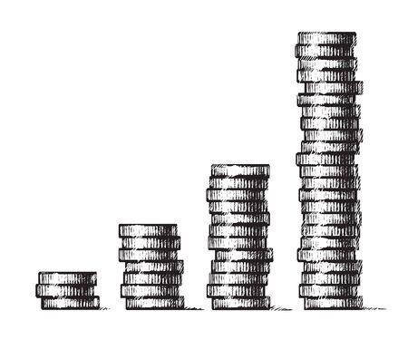 Stapel von Münzen. Konzept des Wirtschaftswachstums, Geschäftserfolg. Handgezeichnete Vektorillustration im Skizzenstil. Einkommensdiagramm für Metallgeldspalten. Vektorgrafik
