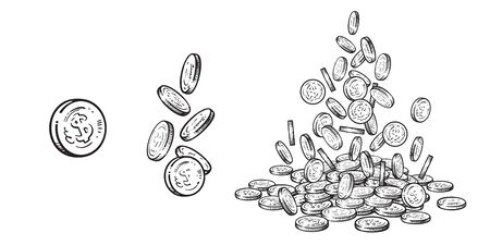Finance, money set. Sketch of falling gold coins in different positions, pile of cash, stack of money. Hand drawn collection on white background. Vector illustration.