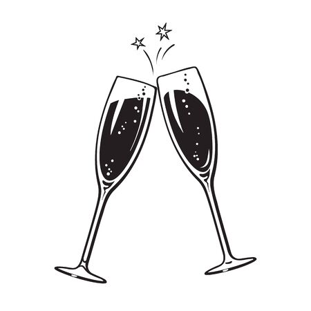 Dos copas de champán o vino espumoso. Icono de saludos. Ilustración de vector de estilo retro aislado sobre fondo blanco. Ilustración de vector