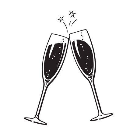 Twee sprankelende glazen champagne of wijn. Proost pictogram. Retro stijl vectorillustratie geïsoleerd op een witte achtergrond. Vector Illustratie
