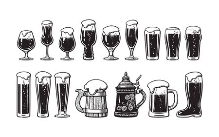 Beer glassware set. Various types of beer glasses and mugs. Hand drawn vector illustration on white background.