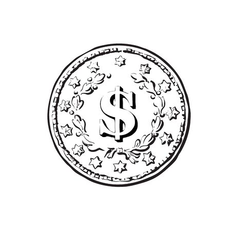 Sketch of old coin with dollar sign. Hand drawn vector illustration in retro style on white background. Money cash finance wealth symbol.