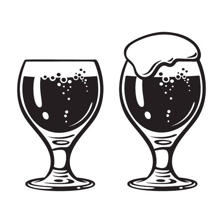 Goblet beer glass. Hand drawn vector illustration isolated on white background.  イラスト・ベクター素材