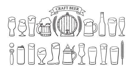Beer objects set. Beer glasses of different shape, mugs, old wooden barrel, bottle, can, opener, cap, barley, wheat, ribbon banner with text Craft Beer. Black and white isolated vector illustration.