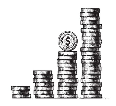 Stacks of coins with dollar sign coin on the top. Concept of economic growth, business success. Hand drawn vector illustration in sketch style. Metal money columns income graphic.