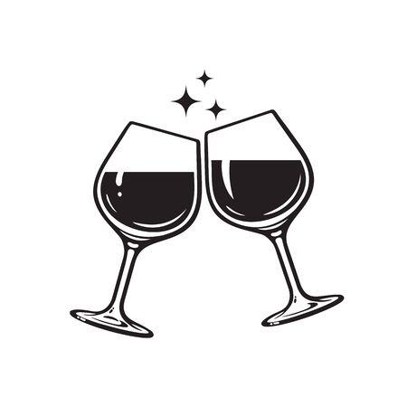 Due bicchieri di vino. Saluti con i bicchieri di vino. Icona di bicchieri tintinnio. Illustrazione vettoriale su sfondo bianco.