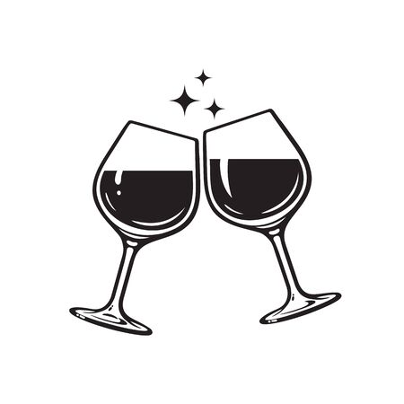 Two glasses of wine. Cheers with wineglasses. Clink glasses icon. Vector illustration on white background. Illustration