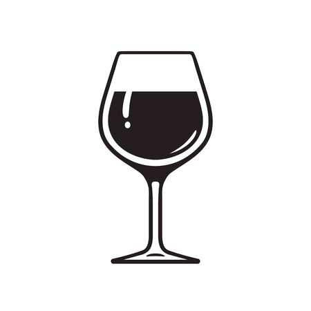Glass of wine. Wineglass icon. Vector illustration on white background. 写真素材 - 131987526