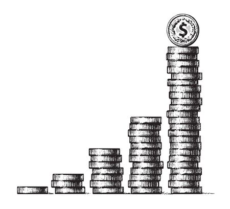 Stacks of coins with dollar sign coin on the top. Concept of economic growth, business success. Hand drawn vector illustration in sketch style. Metal money columns income graph.