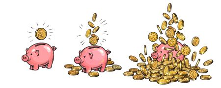 Cartoon piggy bank and gold coins set. Piggy with one coin, with falling cash, heaped over money. Growing wealth and business success concept. Hand drawn sketch style vector illustration .  イラスト・ベクター素材
