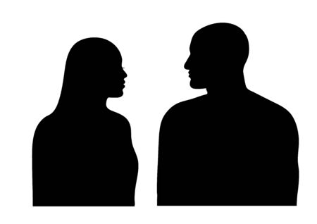 Man and woman silhouette. Couple faces in profile. Vector illustration isolated on white background.