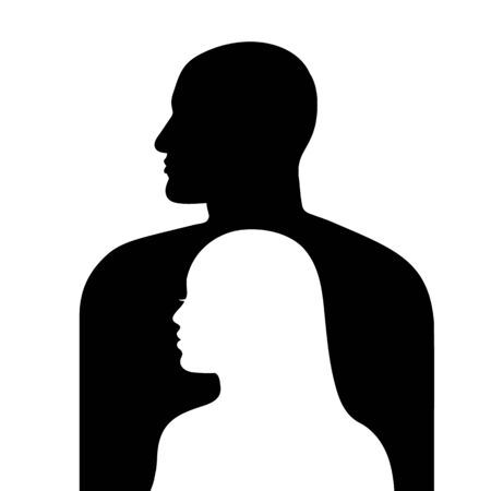 Female face in profile on a background of male face silhouette. Man and woman silhouettes looking in same directions. Vector illustration isolated on white background. Иллюстрация