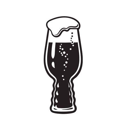 IPA beer glass. India Pale Ale glass. Hand drawn vector illustration on white background.  イラスト・ベクター素材