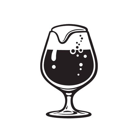 Snifter beer glass. Hand drawn vector illustration on white background. Çizim