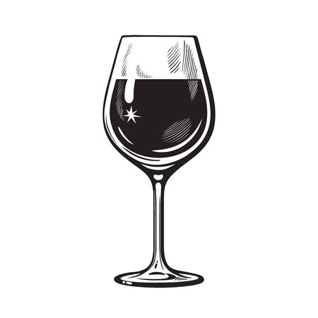 Glass of wine in vintage engraving style. Wineglass icon. Black and white vector illustration on white background.