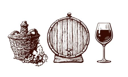 Set of hand drawn elements for wine design. Demijohn bottle with bunch of grapes, old wooden barrel with tap, glass of wine in vintage engraving style. Vector illustration on white background Иллюстрация