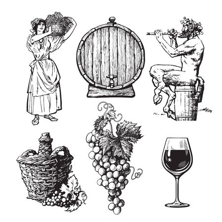 Set of hand drawn elements for wine design. Beautiful peasant woman carrying basket, bunch of grapes, Satyr, bottle demijohn, barrel. Vector illustration in vintage style on white background Иллюстрация