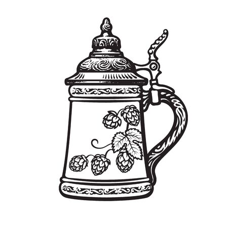 German stein beer mug. Black and white. Hand drawn vector illustration on white backgraund. Brewery, beer festival, bar, pub design.