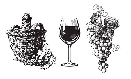 Old demijohn, glass of wine, bunch of grapes in vintage engraving style. Set of wine related hand drawn elements. Vector illustration on white background Çizim