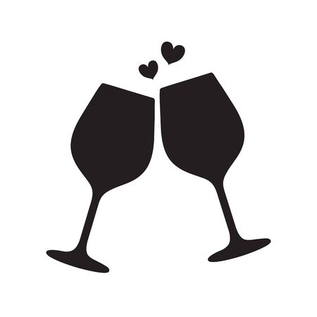 Silhouette of two sparkling glasses of wine or champagne with hearts between them. Cheers icon. Vector illustration isolated on white background.