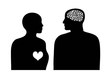 Two silhouettes woman with heart and man with brain. Logic and emotion concept. Psychology of relationships. Gender conflict. Vector illustration on white background.