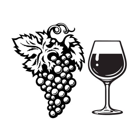 Bunch of grapes and glass of wine in engraving style. Wine icon. Black and white vector illustration on white background.